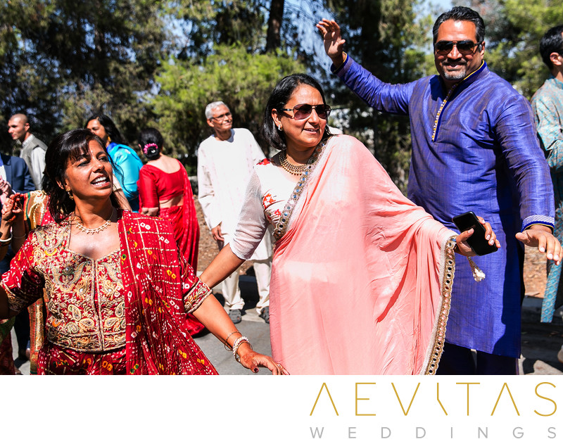 Wedding guests dancing at Indian Baraat in Pomona