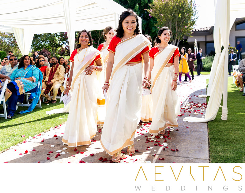 Bridesmaids arrive at Hindu wedding in Pomona