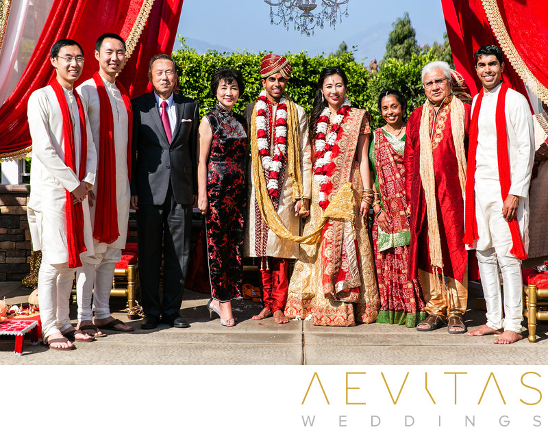 Family portrait at Pomona multicultural wedding