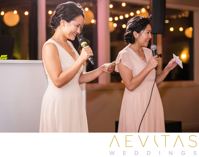 Bridesmaids in pink speech at Pomona wedding reception