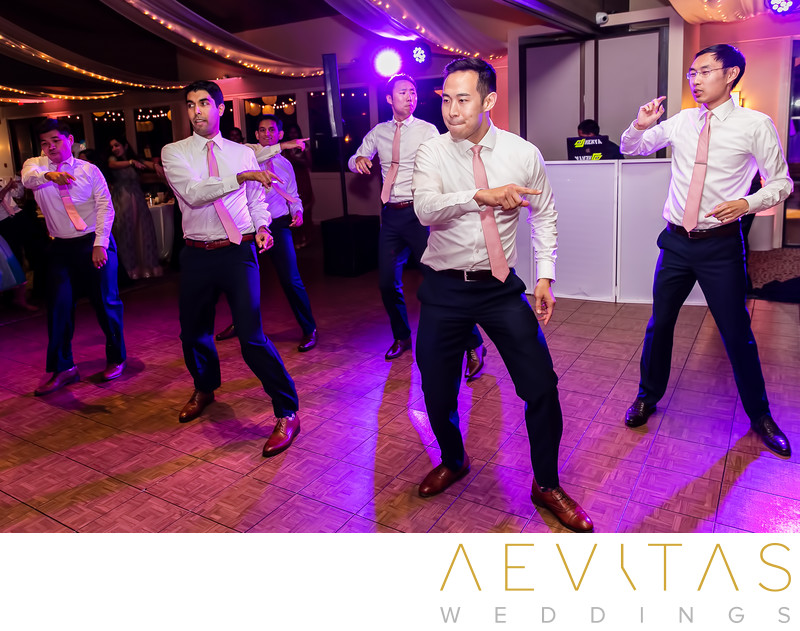 Choreographed groomsmen dancing at Pomona reception