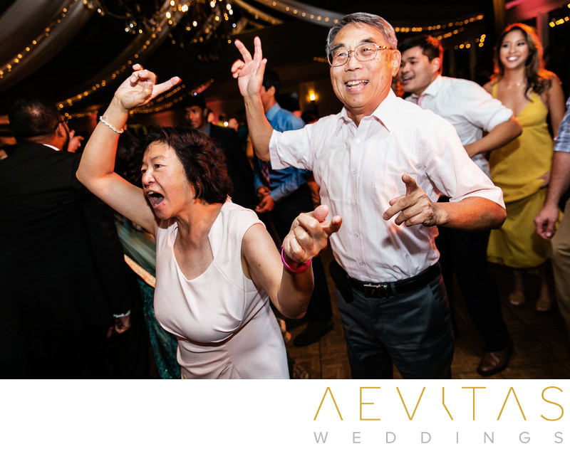 Family members dancing at Pomona wedding reception