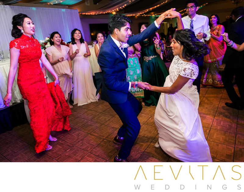 Groom dancing with sister-in-law at Pomona reception