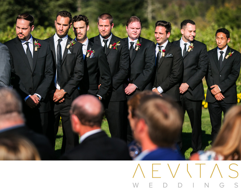 Groomsmen at Landmark Vineyards wedding ceremony