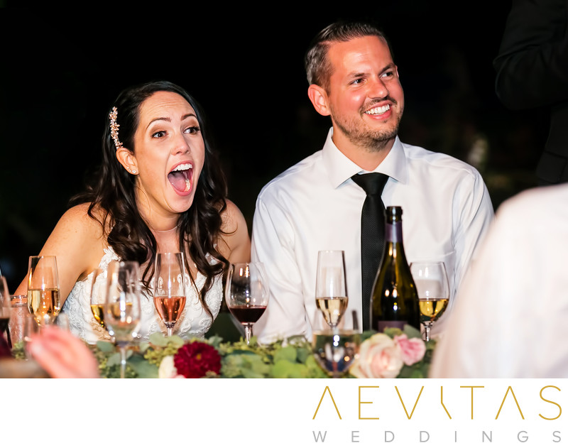 Couple reactions during speeches at Kenwood reception
