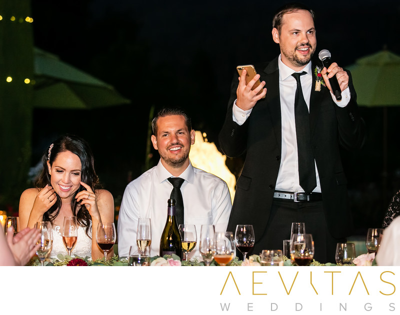 Best man speech with couple at Landmark Vineyards