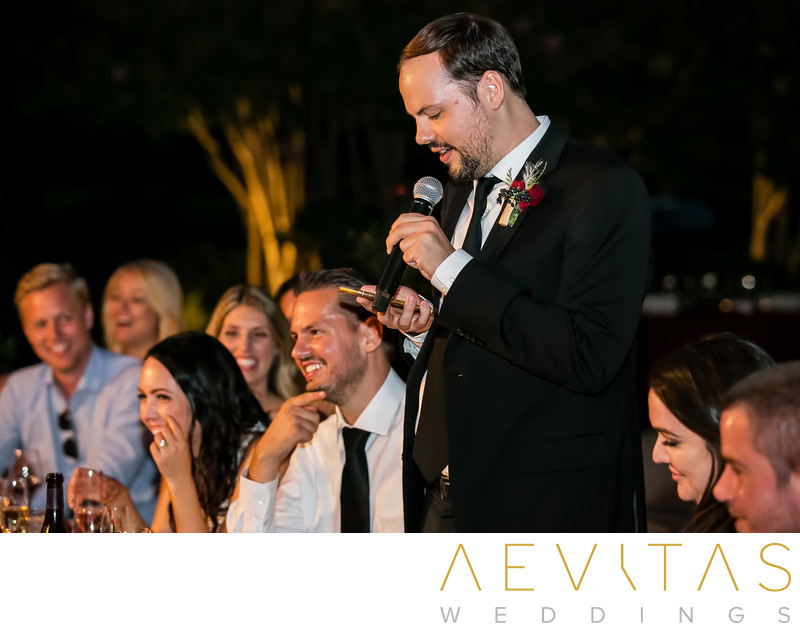Candid best man speech at Kenwood wedding reception