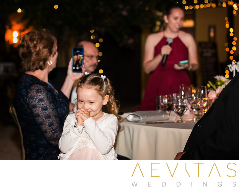 Cute flower girl candid moment at Kenwood reception