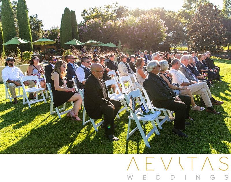 Wedding guests at garden ceremony in Kenwood