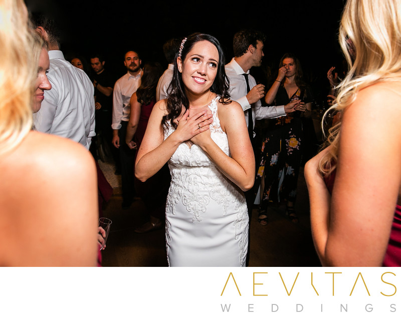 Candid bride moment on Kenwood dance floor