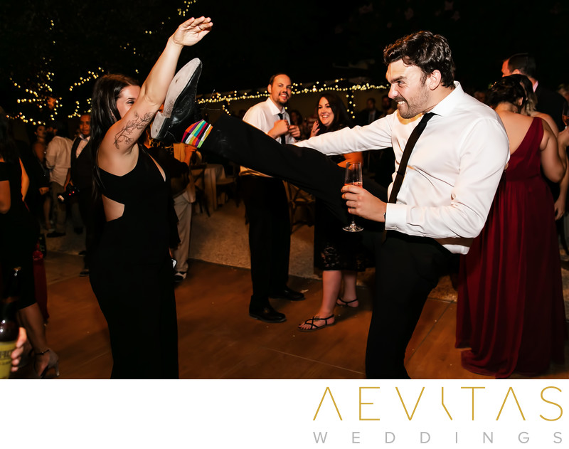 Wedding guest karate kick at Kenwood reception