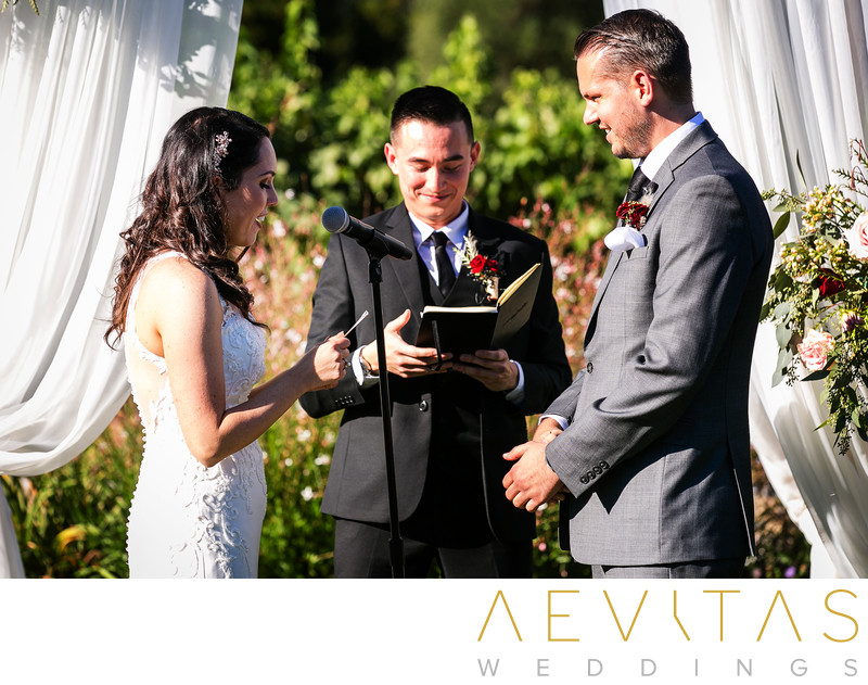 Bride reading vows at Landmark Vineyards wedding