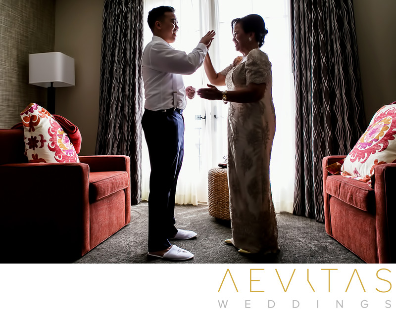Special moment groom and mom in Terranea Resort suite