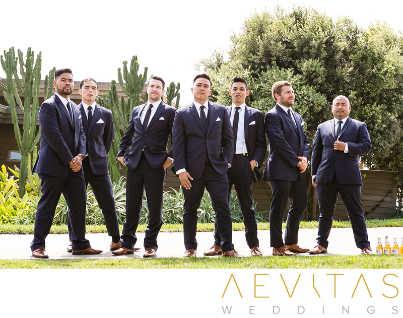 Creative groomsmen portrait in Rancho Palos Verdes