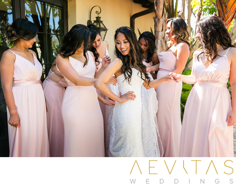 Bride getting ready bridesmaids Rancho Palos Verdes
