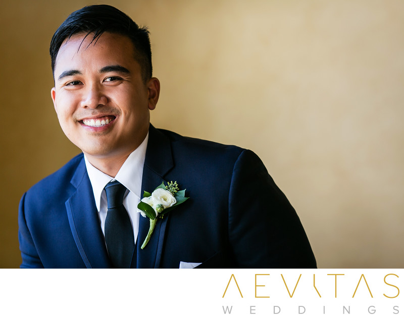 Groom smiling by Los Angeles wedding photographer