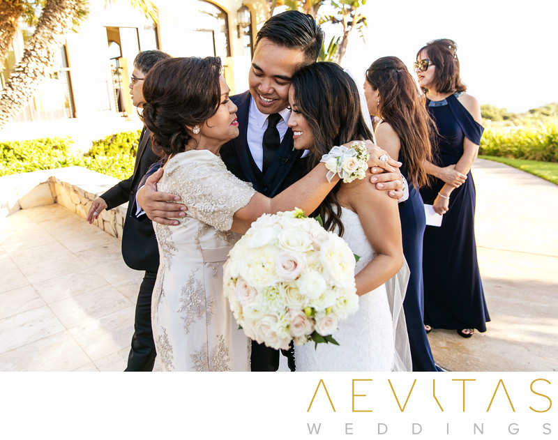 Couple with groom's mom in Rancho Palos Verdes