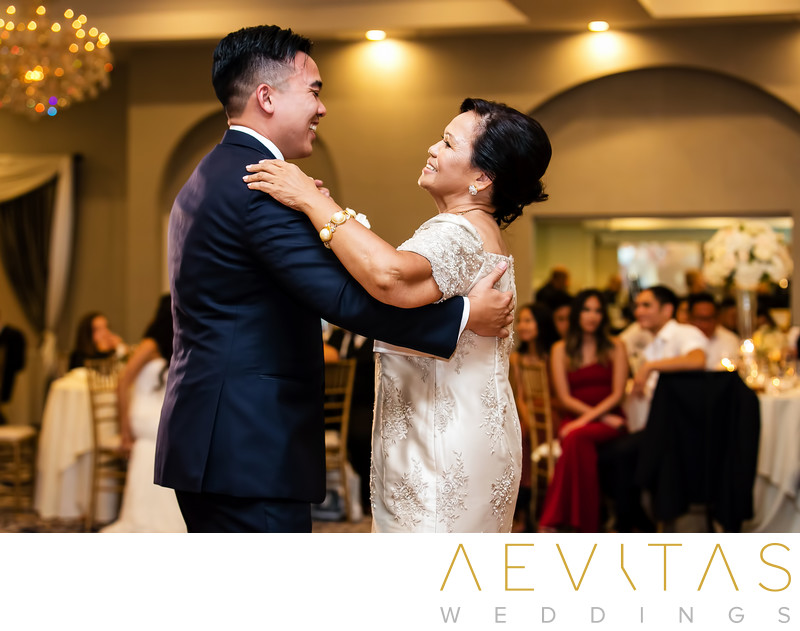 Special moment ballroom wedding mother-son dance