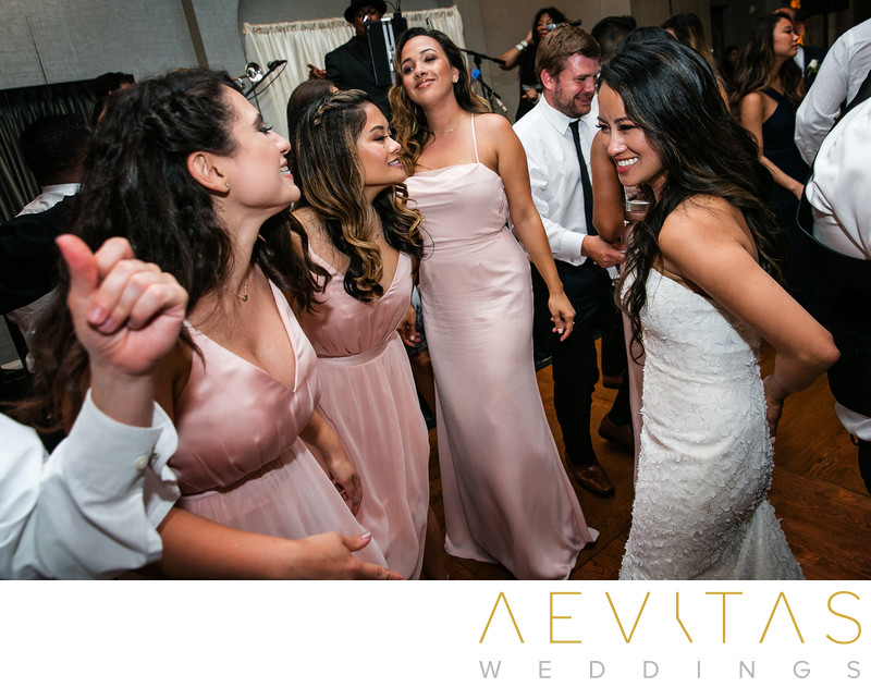 Bride dancing with bridesmaids in Rancho Palos Verdes