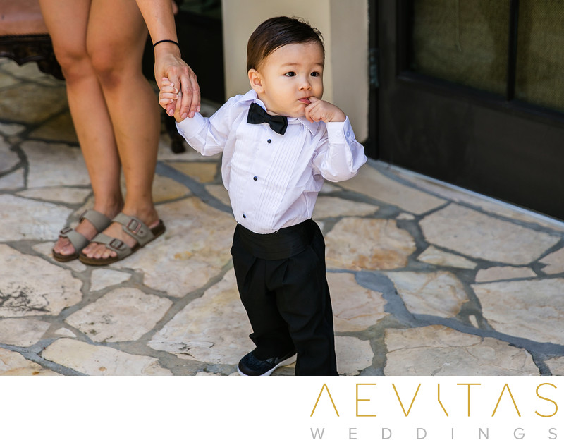 Cute ring bearer at Trump National Golf Club wedding