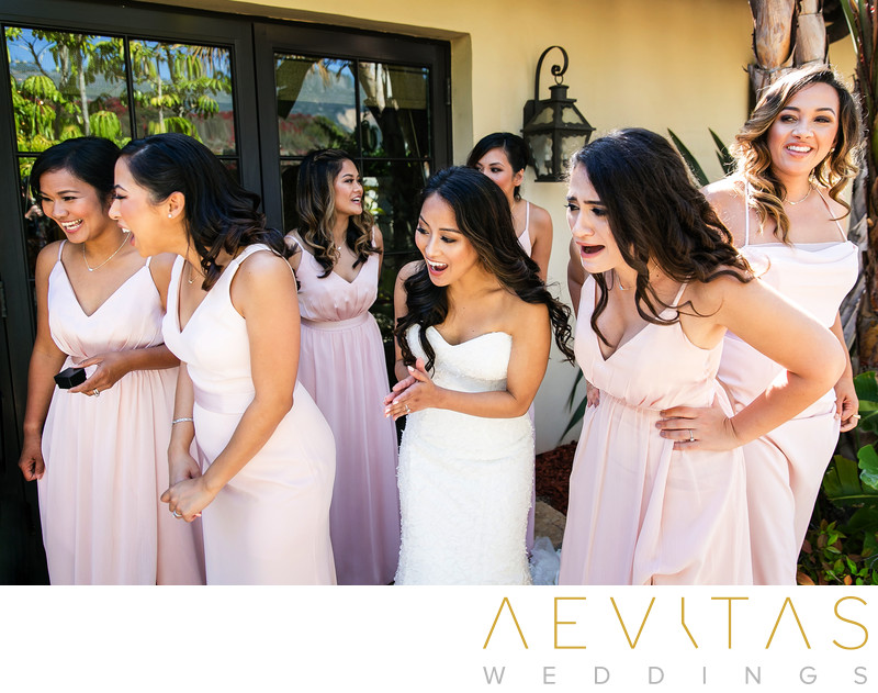 Bridesmaids reactions to cute ring bearer at wedding