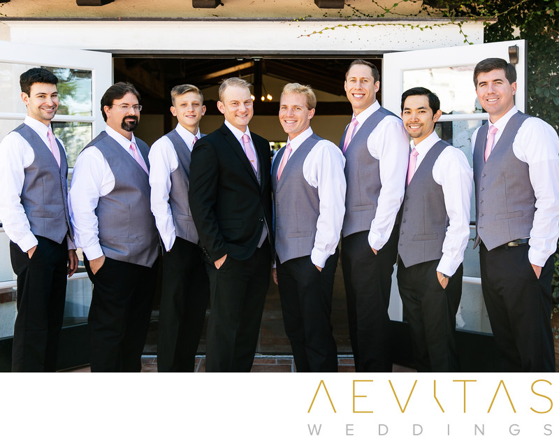 Groomsman portrait with French doors San Clemente