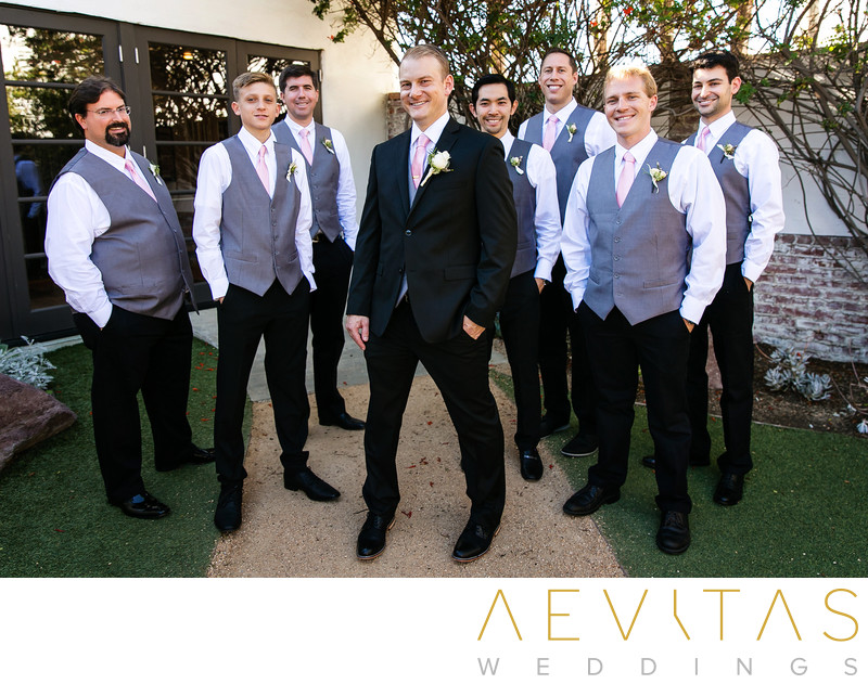 Casual groomsmen portrait at Casino San Clemente