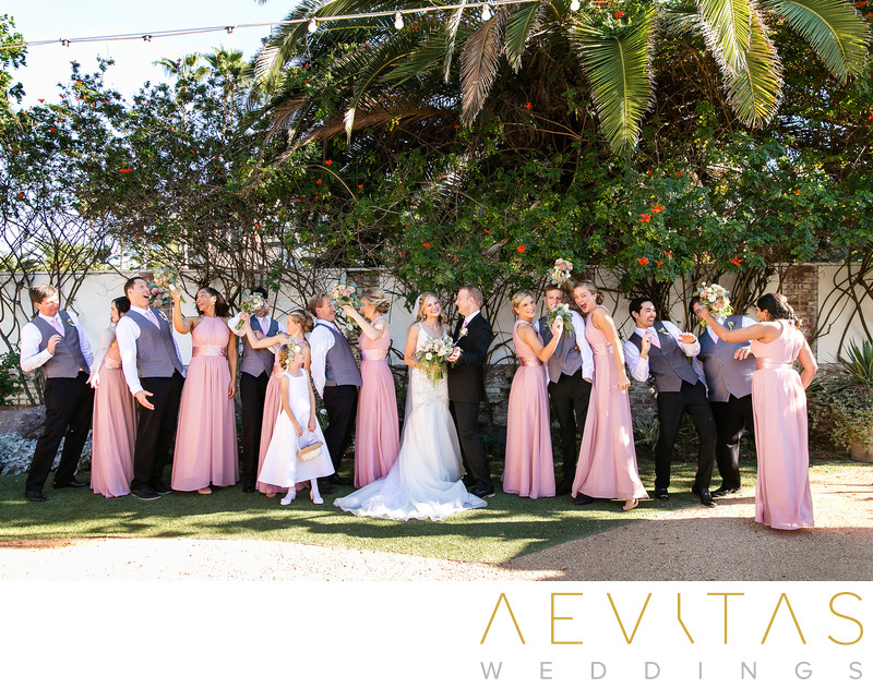 Playful bridal party portrait Casino San Clemente
