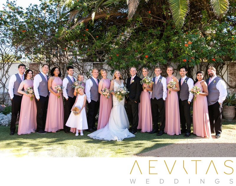 Bridal party portrait Casino San Clemente garden