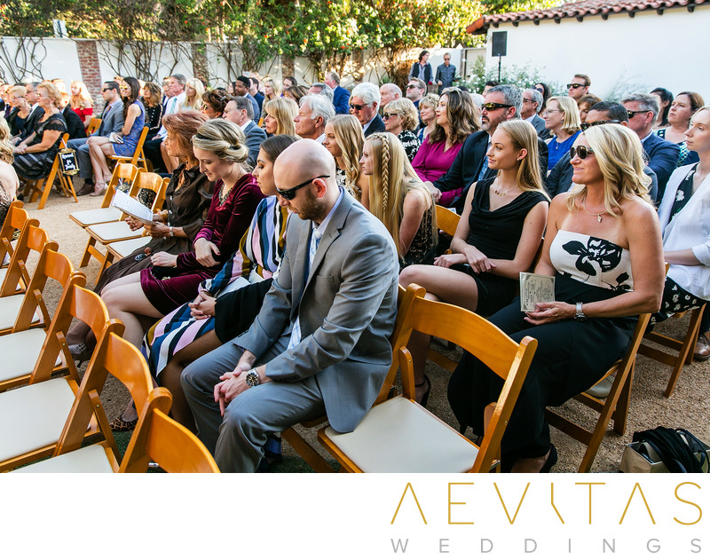 Wedding guests seated at Casino San Clemente ceremony