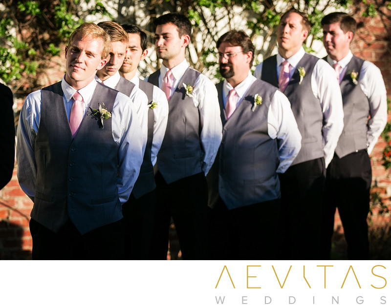 Groomsmen watching Casino San Clemente wedding ceremony
