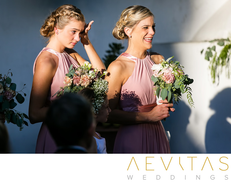 Bridesmaids wiping away tears San Clemente wedding