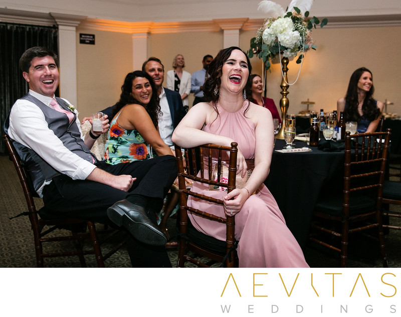 Wedding guests laughing Casino San Clemente reception