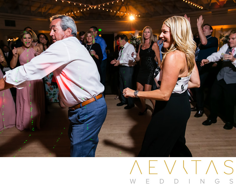 Man dancing with partner at Casino San Clemente wedding