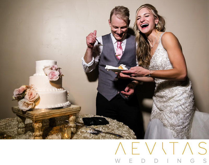 Couple laughing at Casino San Clemente cake cutting