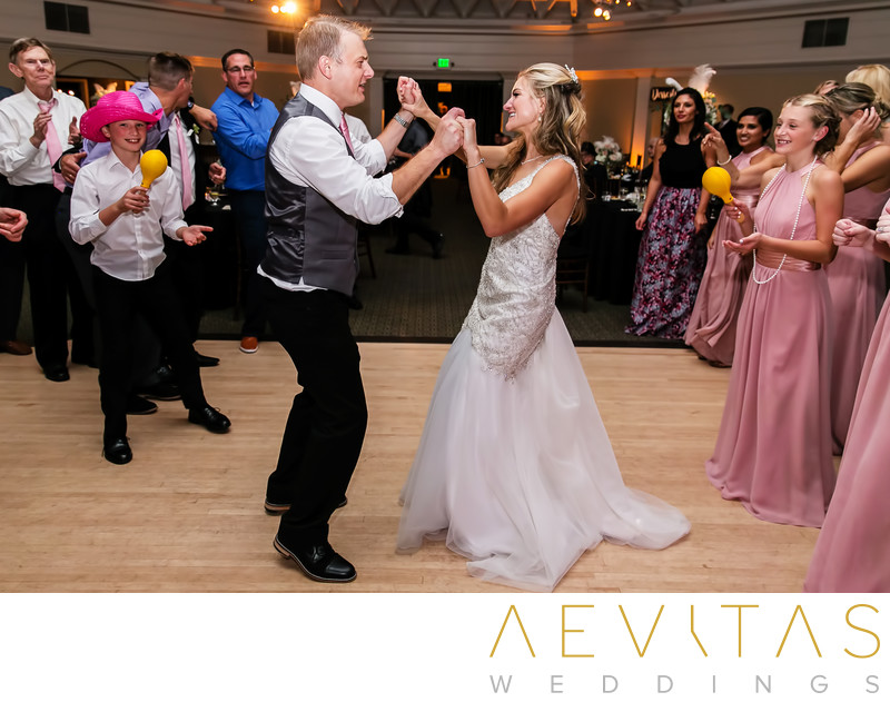 Couple dancing at Orange County wedding reception