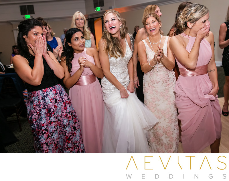 Bride laughing with friends Casino San Clemente wedding