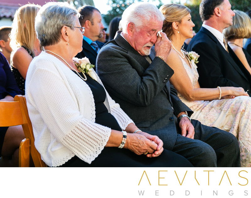 Emotional wedding guest reactions Casino San Clemente