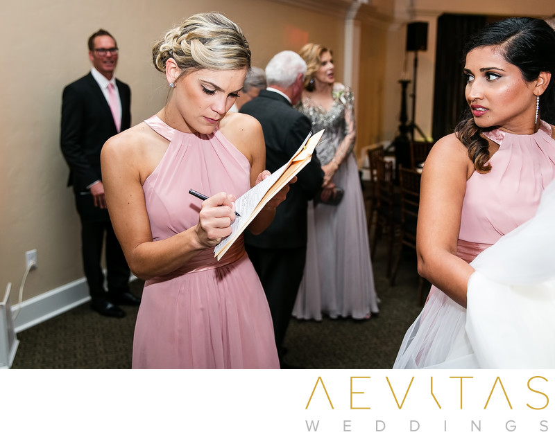Bridesmaid signing marriage license in San Clemente