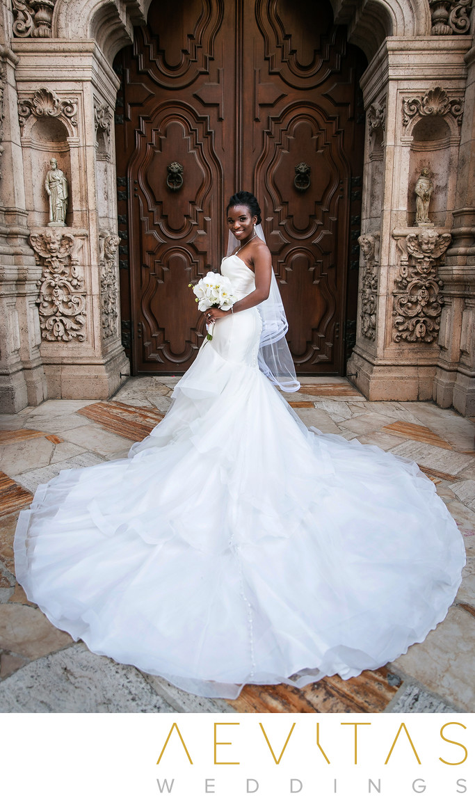 Bride portrait with stunning train at Mission Inn Hotel