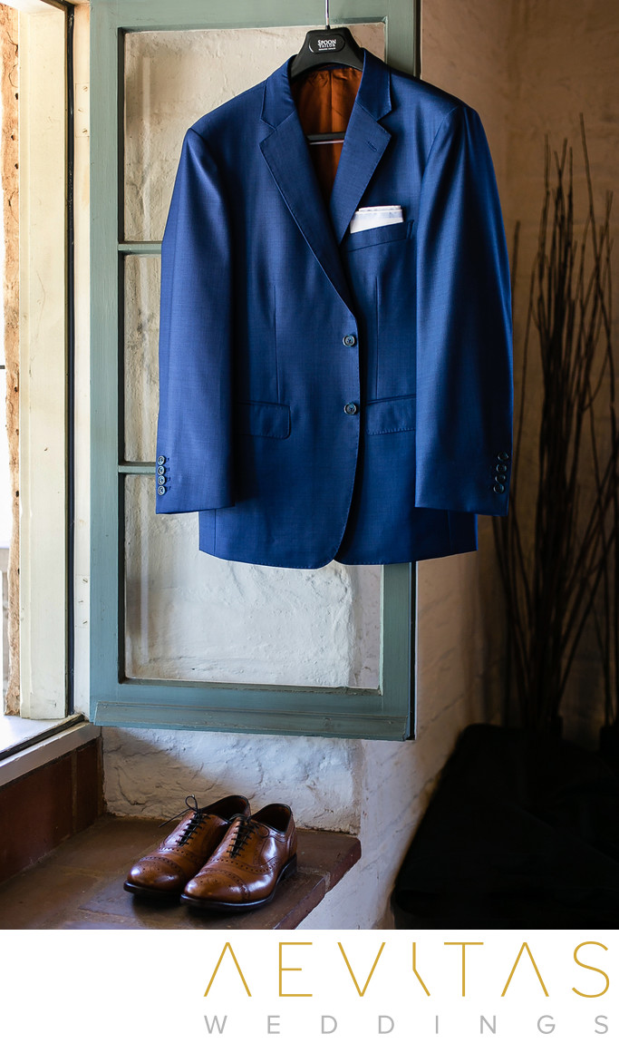 Groom's suit jacket and shoes for Santa Barbara wedding