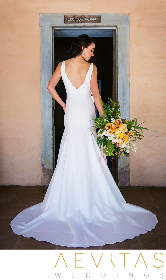 Stunning bride at Santa Barbara Historical Museum