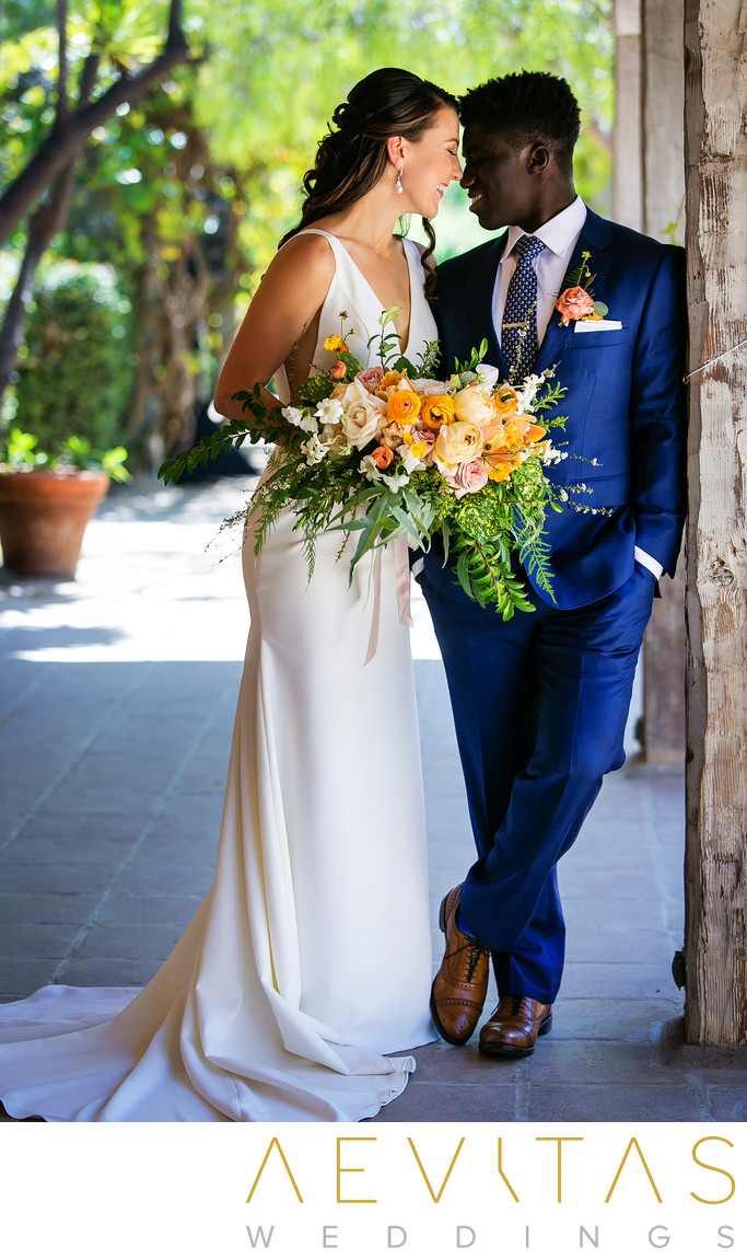 Intimate couple portrait at Santa Barbara wedding