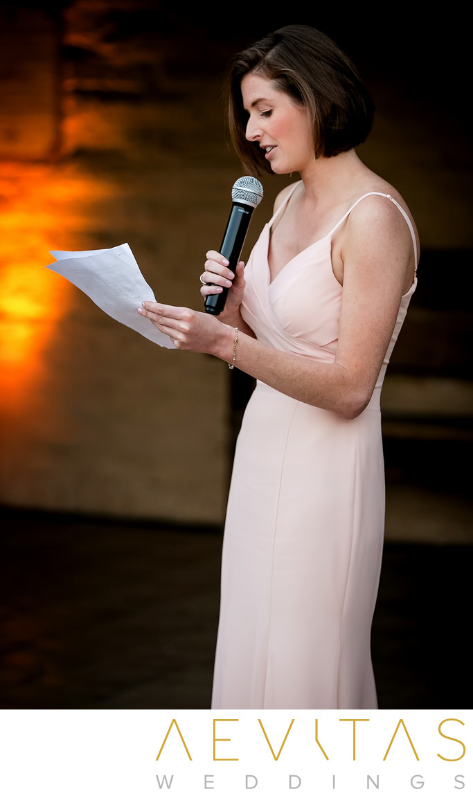 Bridesmaid speech at Santa Barbara Historical Museum