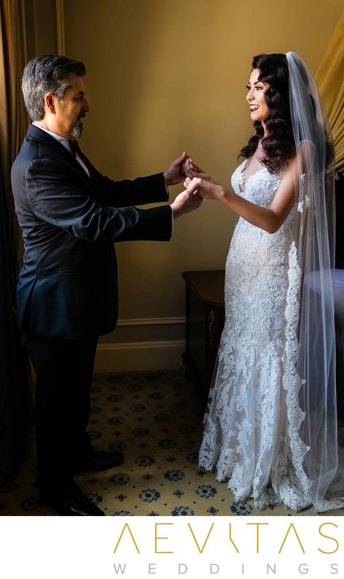 Dad admires bride during father-daughter first look