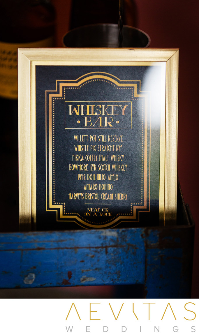 Whiskey Bar sign at SmogShoppe wedding reception