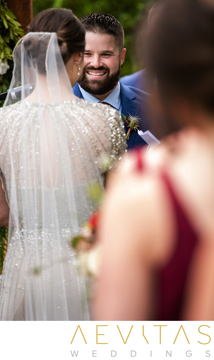 Creative photo of groom reaction at LA wedding