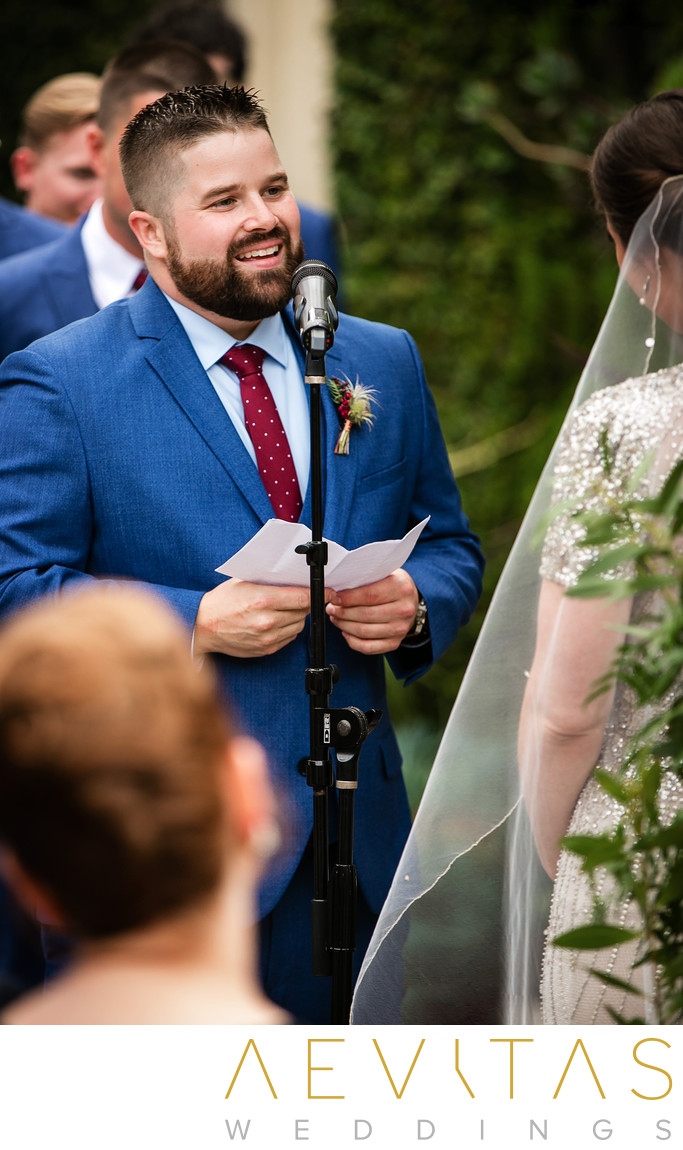 Groom reads vows at SmogShoppe wedding ceremony