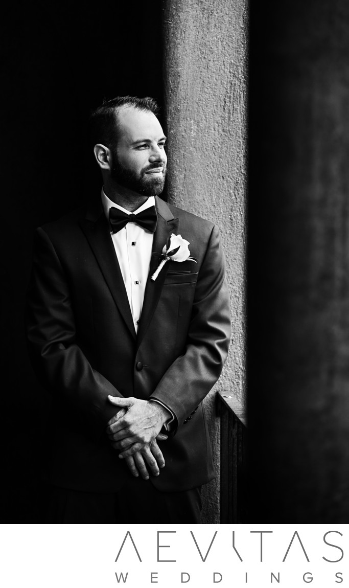 Black and white groom portrait in Sierra Madre