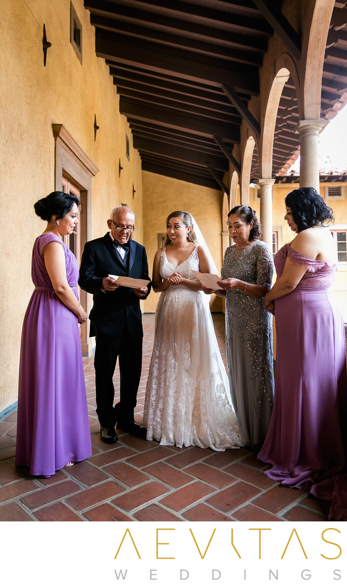 Bride with parents and sisters at Villa Del Sol D'Oro